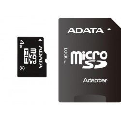 ADATA microSDHC 4GB Class 4 + adaptér AUSDH4GCL4-RA1