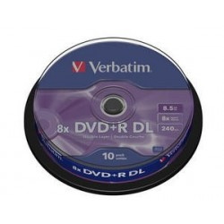 Verbatim DVD+R DL 8,5GB 8x, cakebox, 10ks (43666)