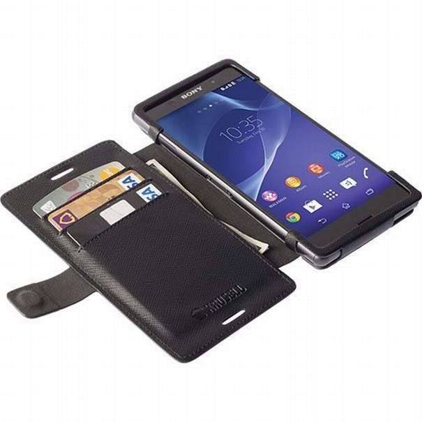 Pouzdro Krusell MALMÖ FLIPWALLET Sony Xperia M4 Aqua/M4 Aqua Dual černé