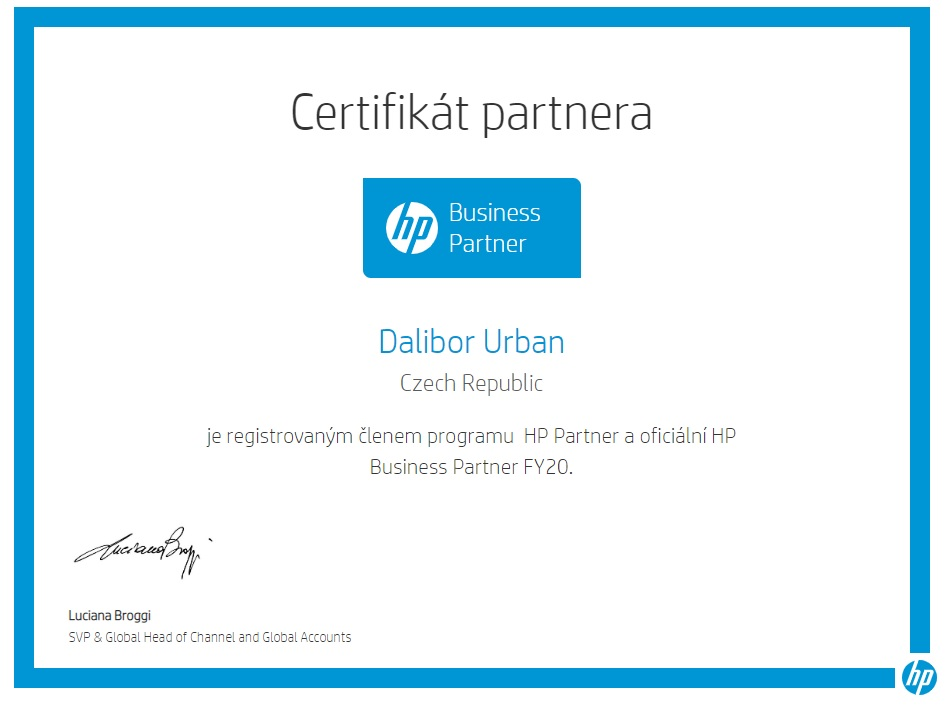 HP certificate FY2020